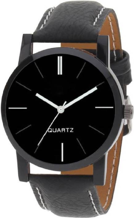 Keepkart Blk Leather Strap Stylish Designer Boys And Girls And Men And Women Watch  - For Couple