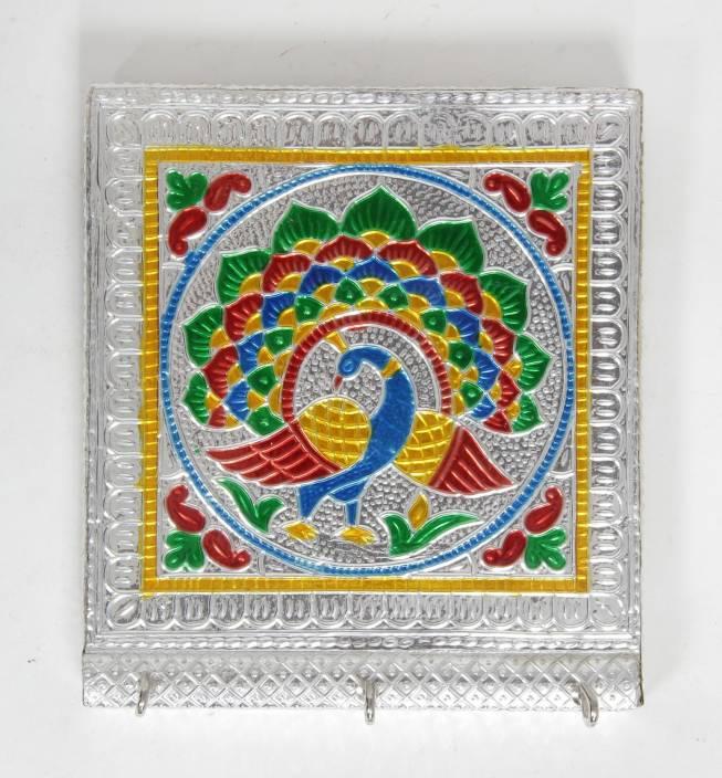 Jaipur Textiles Hub Handcraft Wall Key Holder Silver Coloured For