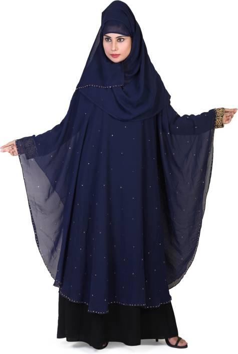 138e99d24783 DC 2018 Dubai Style Butterfly Dark Blue&Black Free Size (Islamic Wear  Burkha) Nida Solid Abaya With Hijab (Blue, Black)