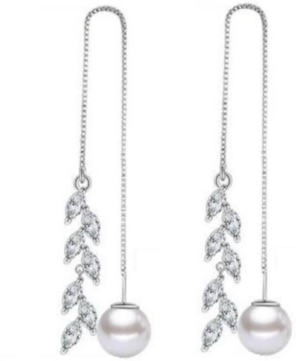 19b3973a7eaa0 MYKI Stylish Marquis Design Long Hanging Earrings For Women & Girls  Swarovski Zirconia Sterling Silver Drop Earring