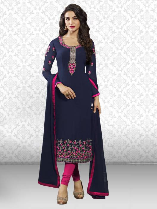 9686bd5c74 Divastri Georgette Embroidered Salwar Suit Dupatta Material Price in ...