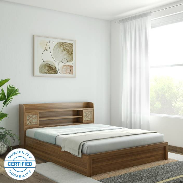 85712c0a0c Spacewood Engineered Wood Queen Box Bed (Finish Color - Natural Teak)