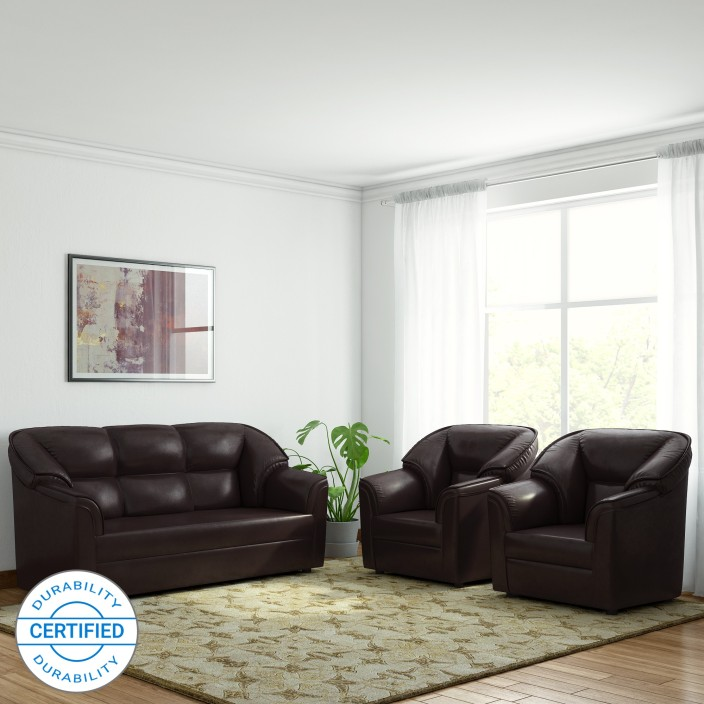 westido manhattan leatherette 3 1 1 brown sofa set price in rh flipkart com