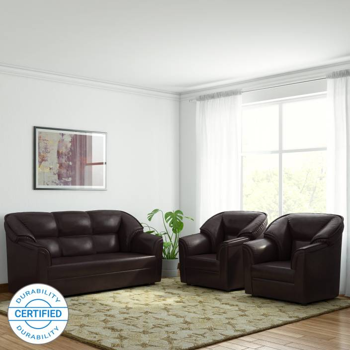 Westido Manhattan Leatherette 3 1 Brown Sofa Set Price In India Online At Flipkart
