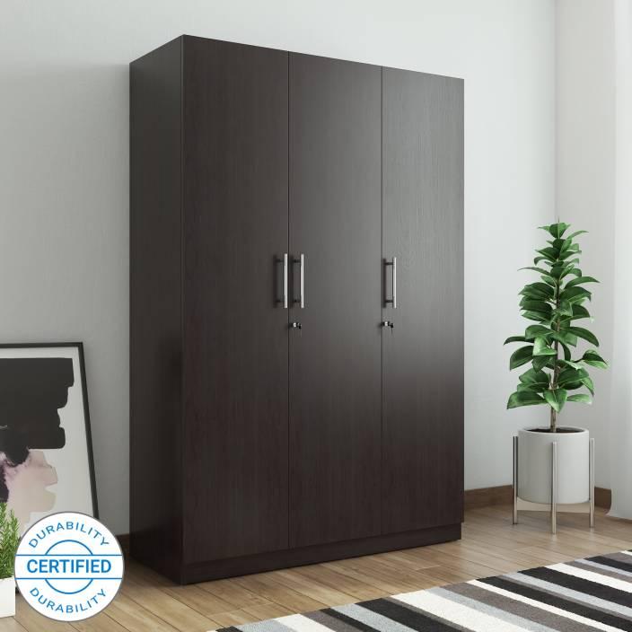 Ewood Optima Engineered Wood 3 Door Wardrobe Finish Color Natural Wenge Woodpore