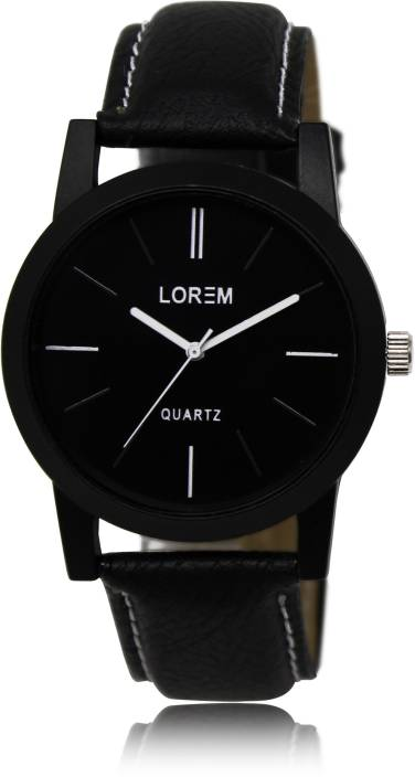 LOREM LK-05 Black-Round Professional Plain Leather Watch - For Men
