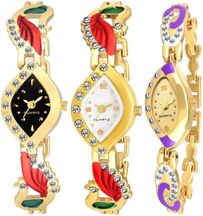 NUBELA Black White Golden Dial Golden Color Pack Of 3 Watch - For Girls