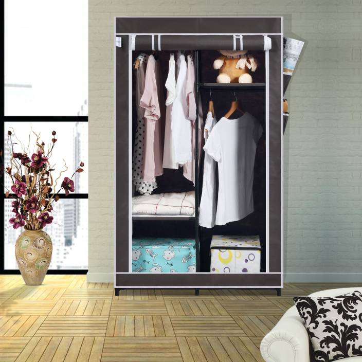 9dabe5f287a Flipkart SmartBuy Single Door 4 Shelf PP Collapsible Wardrobe (Finish Color  - Chocolate Brown)