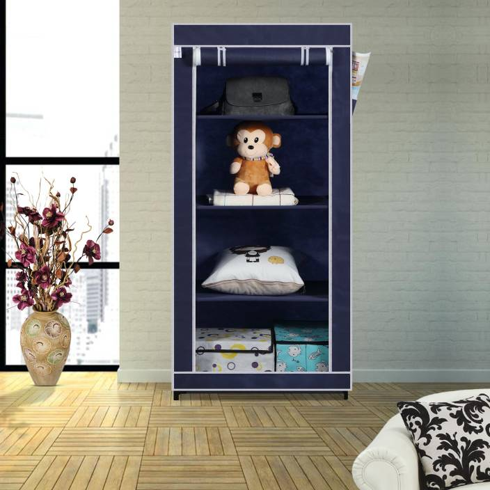 afa8e7b4fec Flipkart SmartBuy Single Door 4 Shelf PP Collapsible Wardrobe (Finish Color  - Blue)