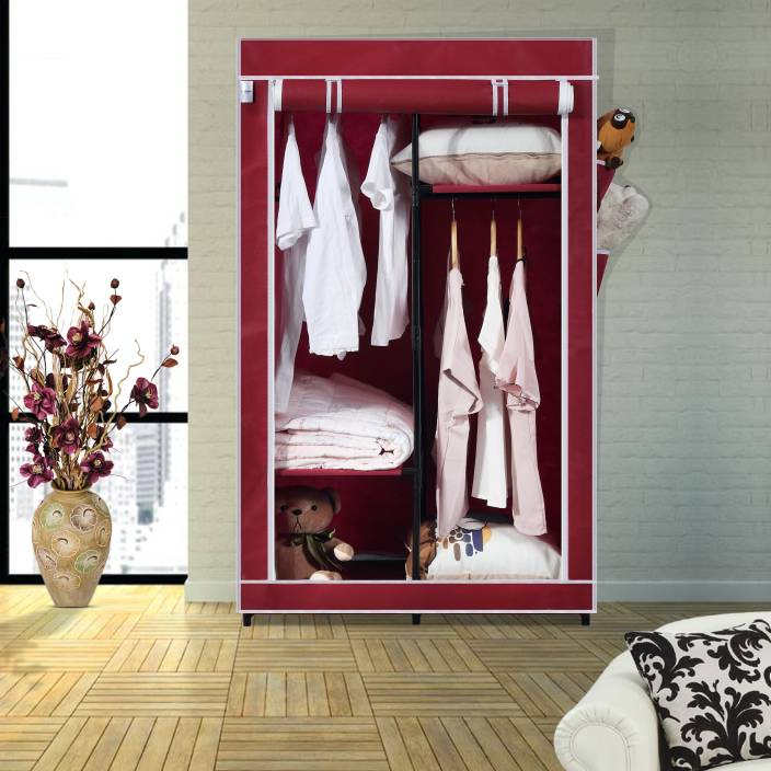 59a72beb1c0 Flipkart SmartBuy Single Door 4 Shelf PP Collapsible Wardrobe (Finish Color  - Maroon)