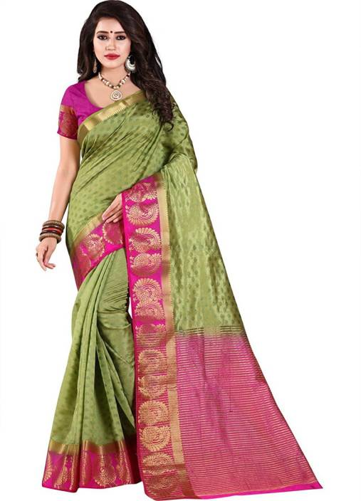 6c4f1e6533 Buy Indianbeauty Printed Kanjivaram Cotton Silk Green Sarees Online ...
