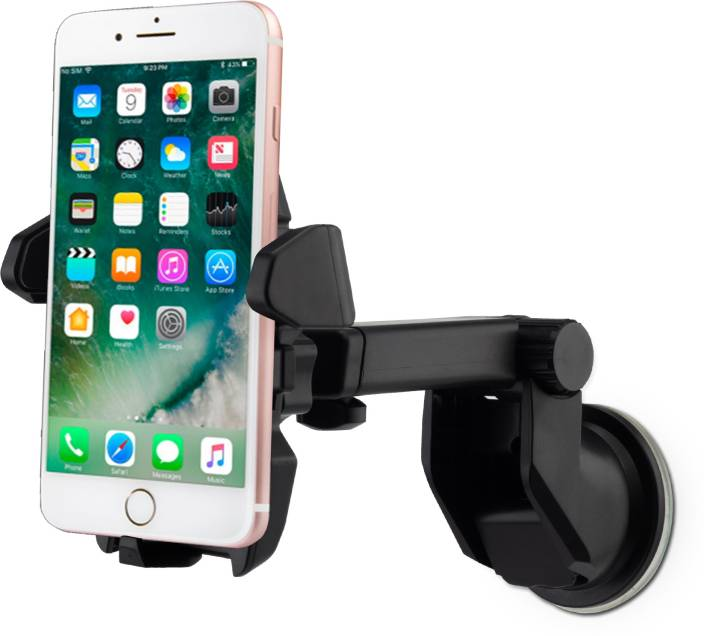 Flipkart SmartBuy Universal Car Mobile Holder for Dashboard, Windshield with Quick One Touch Technology (Black)