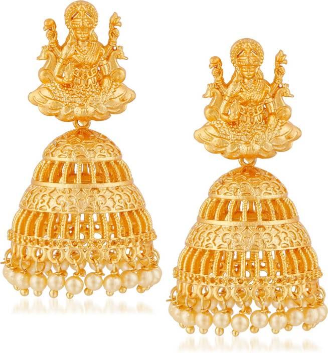 04ff84d598899 Meenaz Temple Jewellery Traditional Jhumka One gram Wedding Bridal Sarees  Kundan Pearl party wear Matt Gold Lakshmi Necklace set / Jewellery Set ...