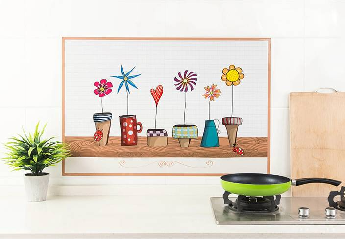 Ampire Large Wall Stickers Kitchen Anti Oil Cabinet Decoration Home Self-Adhesive Flower Pots Foil Sticker (Pack of 1)