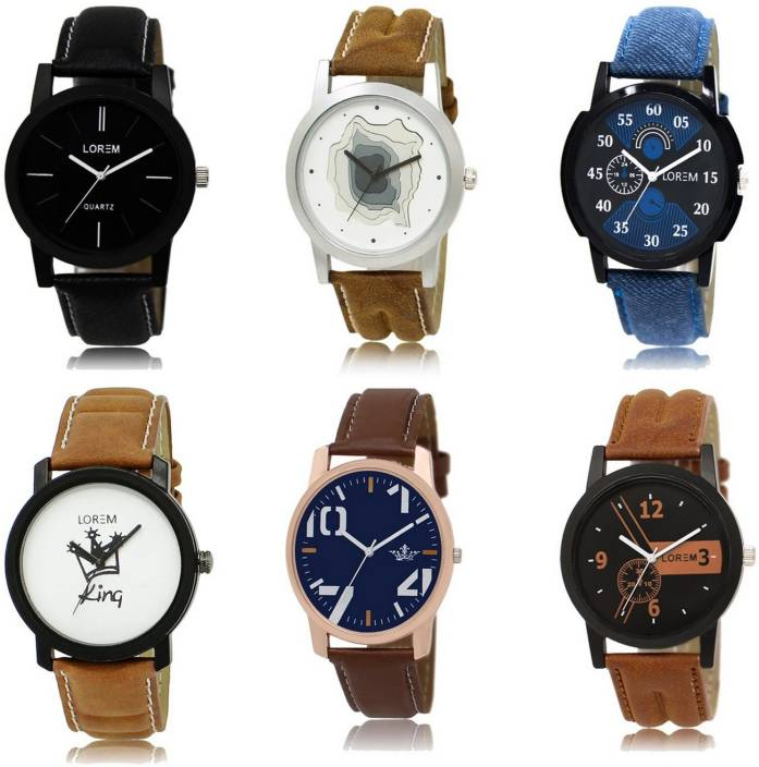 LOREM LK-125918-LD-6 Luxurious Combo Designer Leather Watch - For Boys