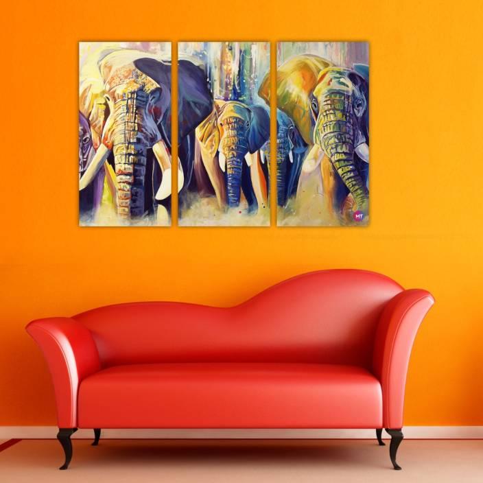 Chandras Abstract Elephant 3 Frame Panel Canvas Wall Art