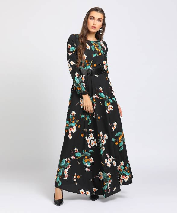 8142cc302 Tokyo Talkies Women s Maxi Black Dress - Buy BLACK Tokyo Talkies Women s  Maxi Black Dress Online at Best Prices in India