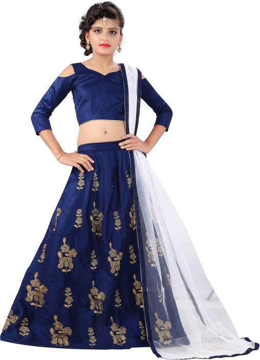 8737a8efb8e1 F Plus Fashion Girls Lehenga Choli Fusion Wear Embroidered Lehenga, Choli  and Dupatta Set (Blue, Pack of 1)