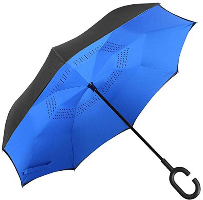 83b83a2dddc74 BOXO The UV Protection Lightweight Automatic Round Handle Umbrella For  Summer And Rainy Season (Black, Blue) - 1 PC, Sun and Rain Umbrella Umbrella  (Blue, ...
