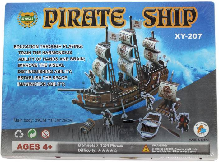 Tootpado 3D Foam Puzzle Pirate Ship - 8 Sheets 124 Pieces