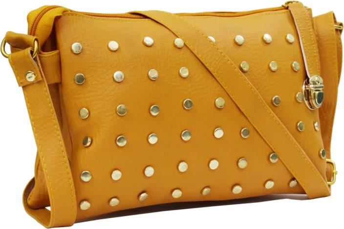 SPLICE Women Evening/Party Yellow PU Sling Bag