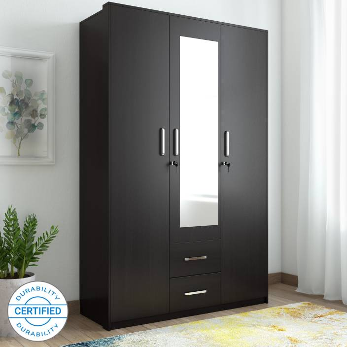 Ewood Apex Engineered Wood 3 Door Wardrobe Finish Color Natural Wenge Mirror Included