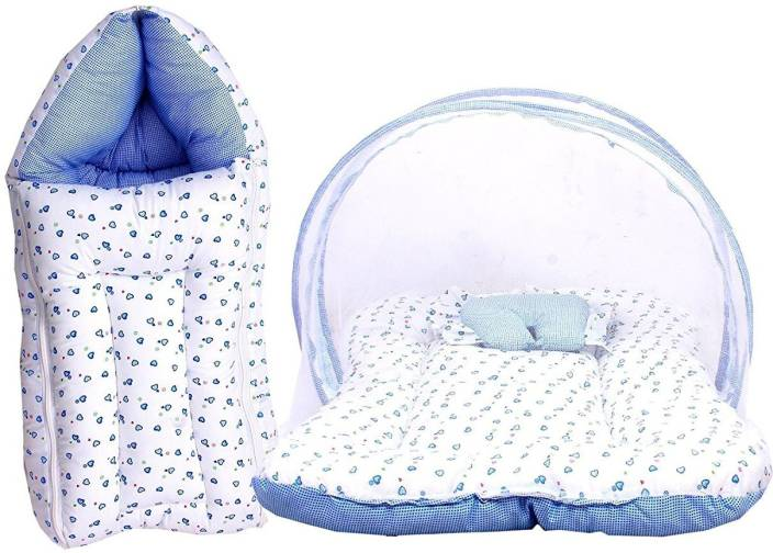Fareto Baby Mattress With Mosquito Net Sleeping Bed Bag Carry Combo