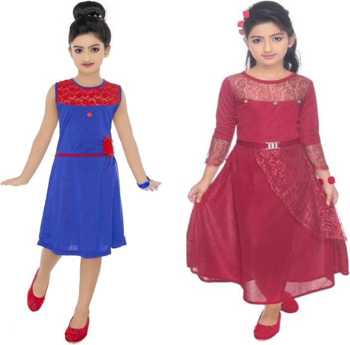 7fc61a99391d Flip Fashion Girls Midi/Knee Length Casual Dress (Maroon, 3/4 Sleeve)