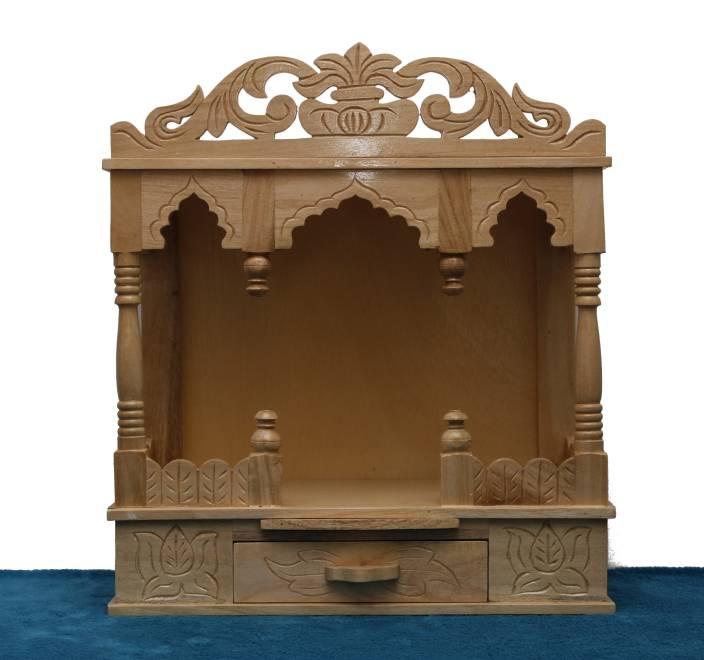 Teakwood Sevan Wood Open Front Four Pillar Designed Templepooja Mandir Height 51 Cm Solid Wood Home Temple