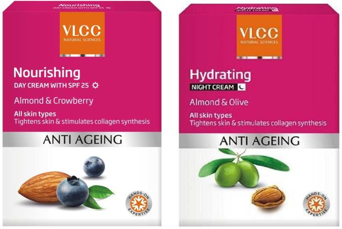 VLCC Anti Ageing Nourishing Day Cream SPF 25 (50g) + Hydrating Night Cream (50g)  (2 Items in the set)