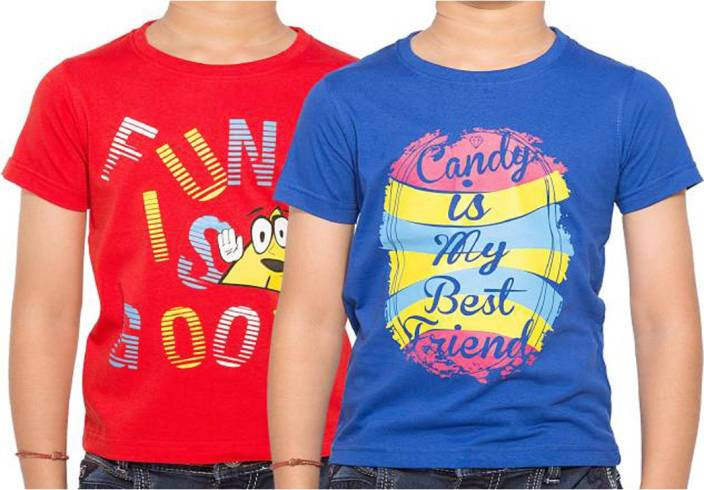 bd0962c0ac2 PRRZ KIDS T SHIRT AND MULTI DESIGN (PACK-2) Boys Printed Cotton T Shirt  (Blue