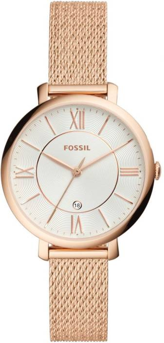 4c08b314e08 Fossil ES4352 Fossil Jacqueline Three-Hand Rose Gold-Tone Stainless Steel Watch  Watch -