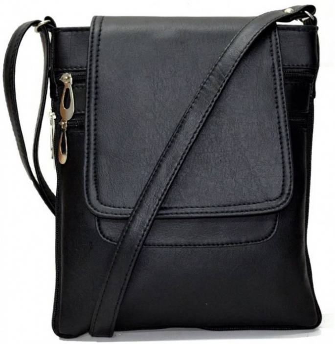Divu Collections Women Casual Black PU Sling Bag