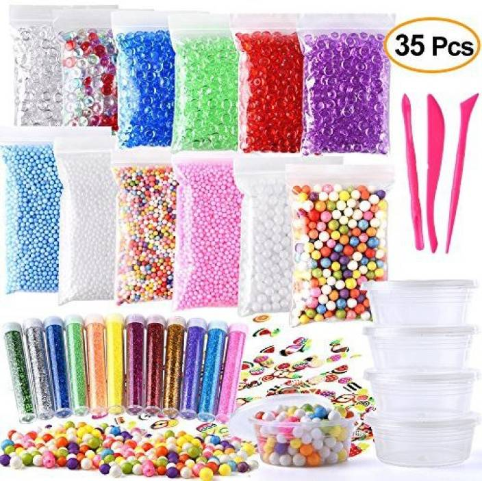 b00bc54eff3a30 FEPITO 35 Pack Craft Slime Making Kits Fruit Crunchy Foam Accessories  Including Box Fishbowl Beads Glitter Slices for Diy - 35 Pack Craft Slime  Making Kits ...