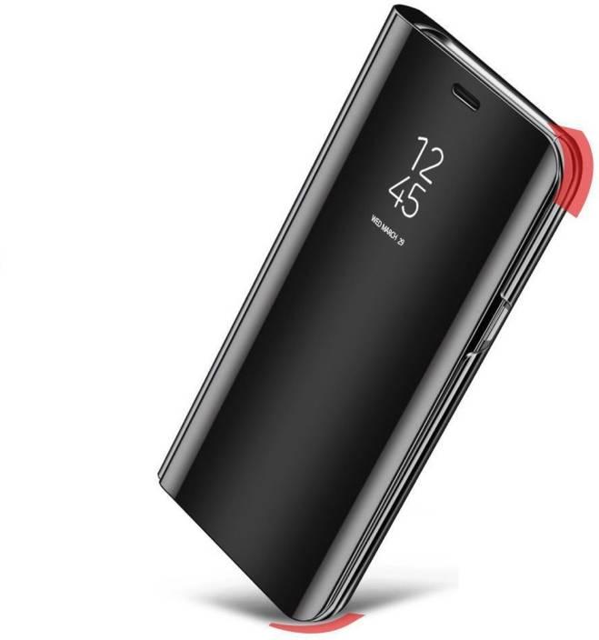 Johra Flip Cover for OPPO F7 (Black, Dual Protection, Plastic)
