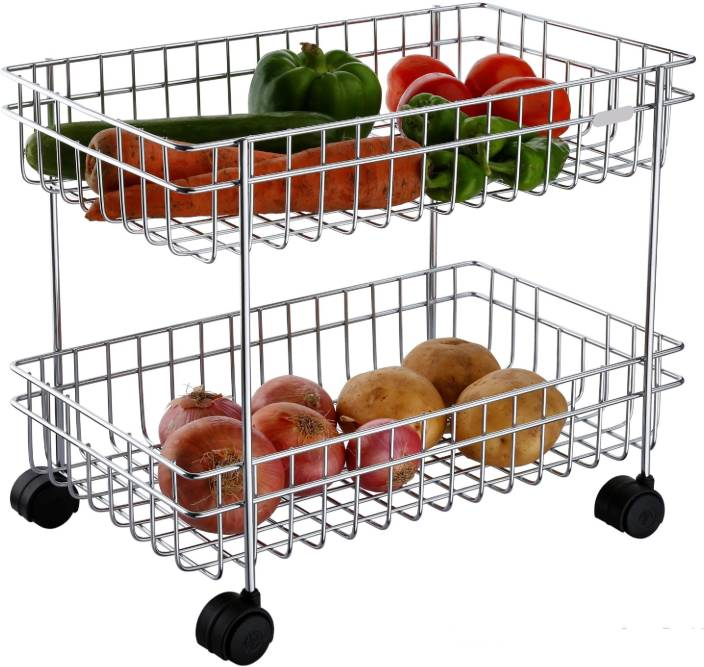 a66a5dd02f10 Mantavya Deluxe Multipurpose Perforated Rack Portable Design Vegetable &  Fruit Stand 2-Tire Stainless Steel Kitchen Trolley