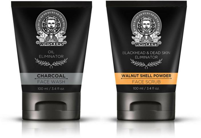 Whiskers Charcoal Face Wash (100ml) & Walnut Shell Powder Face Scrub (100ml)