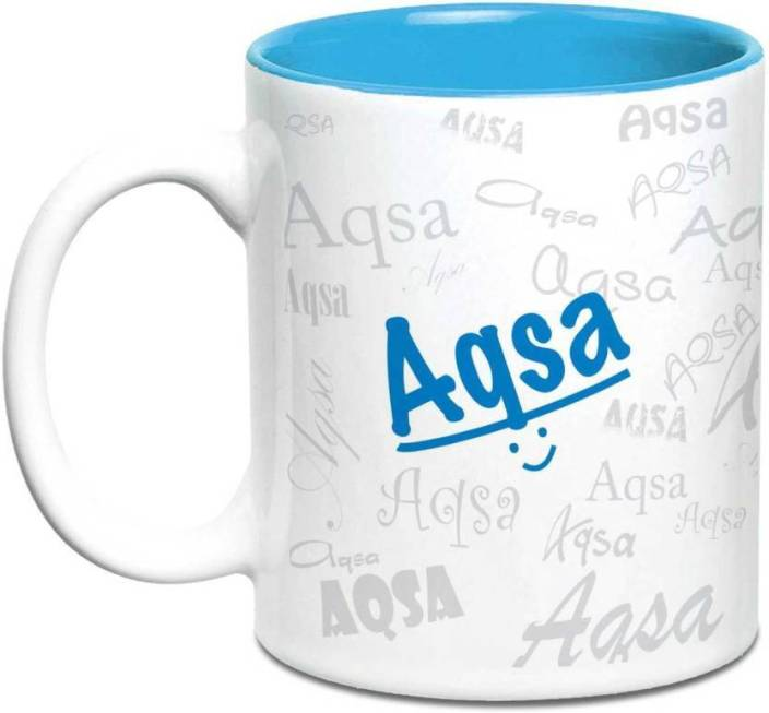 LOF Aqsa Name Gift Ceramic Inside Blue Gifts For Birthday Mug 325 Ml