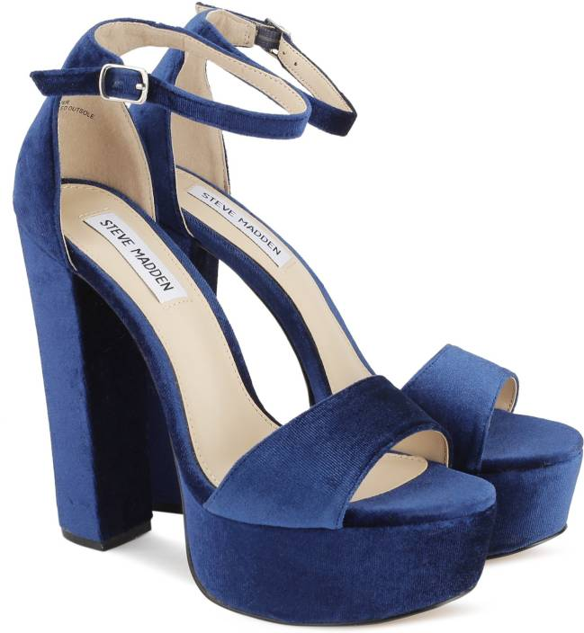 e21bd4d8f01 Steve Madden Women BLUE VELVET Heels - Buy BLUE Color Steve Madden Women  BLUE VELVET Heels Online at Best Price - Shop Online for Footwears in India  ...