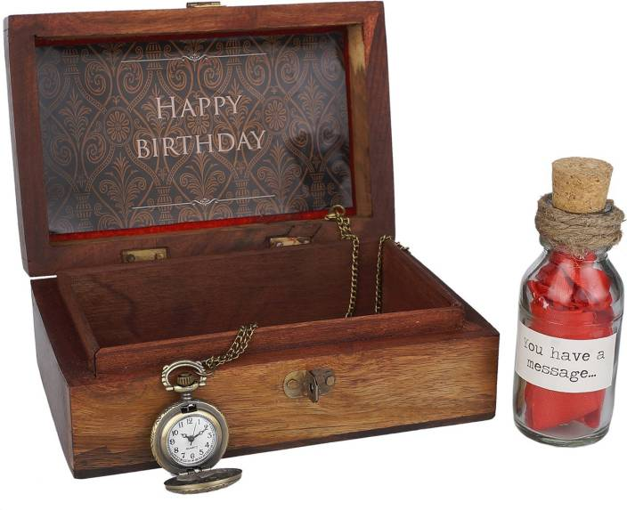 Oye Happy Wooden Box With Happy Birthday Message On Box Message In