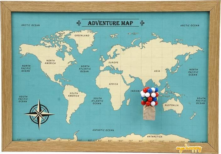 Oye Happy Adventure World Map Gift For Friend Husband Wife Girlfriend Boyfriend On Birthday Showpiece Set Price In India