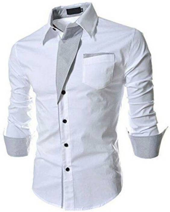 0d91dfd03d7 Qlonz store Men Solid Casual White Shirt - Buy Qlonz store Men Solid Casual  White Shirt Online at Best Prices in India