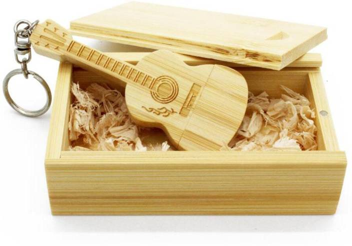 Green Tree Wooden Guitar Key Chain With Box 32 Gb Pen Drive