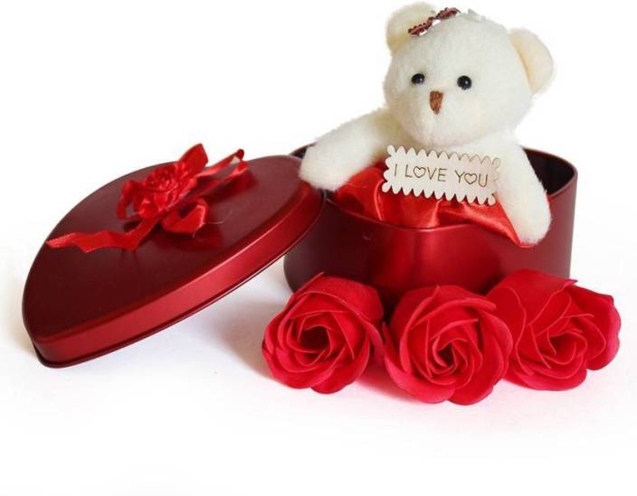 Lata Cute Teddy & 3 Rose Flower in Beautiful Heart Shape Box Soft Toy, Artificial Flower Gift Set Price in India - Buy Lata Cute Teddy & 3 Rose Flower in ...