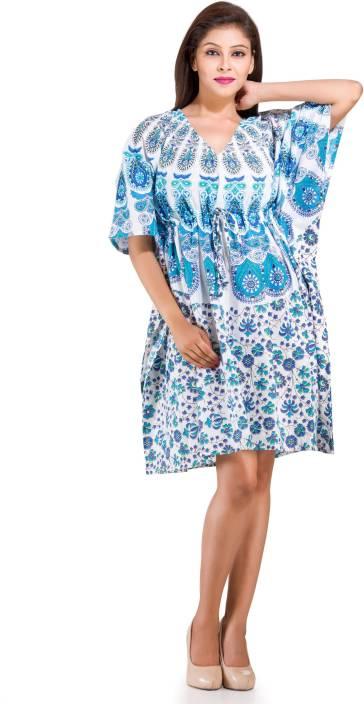 fe5c87b860 Handicraft-Palace Printed Cotton Caftan Short Party Dress Plus Size ...