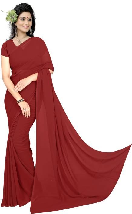 59525cf592c62 Buy sidhidata Plain Bollywood Georgette Maroon Sarees Online @ Best ...