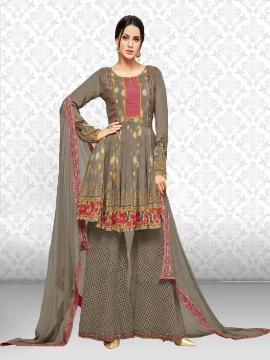 73db012bd2 Divastri Georgette Embroidered Kurta & Sharara Fabric Price in India ...