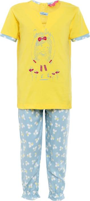 95eb1c8bc valentine Girls Printed Multicolor Top   Pyjama Set Price in India ...