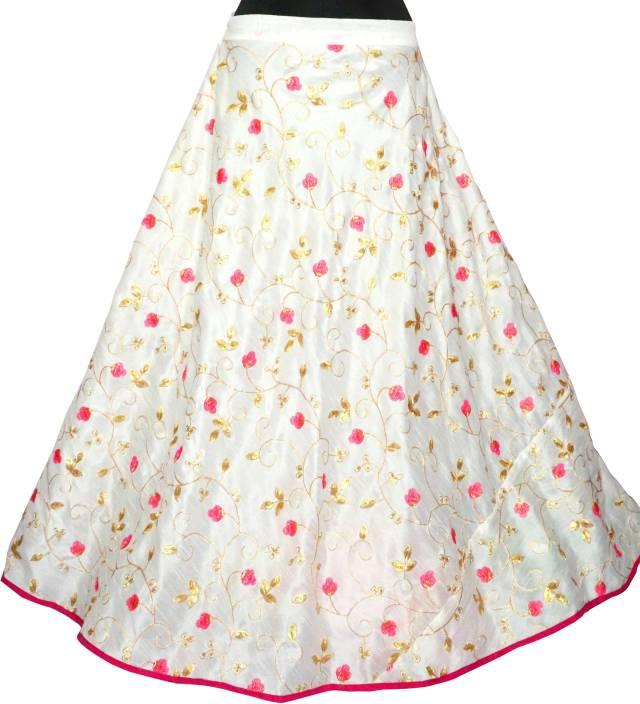 Fabcartz Embroidered Women Flared Pink Skirt