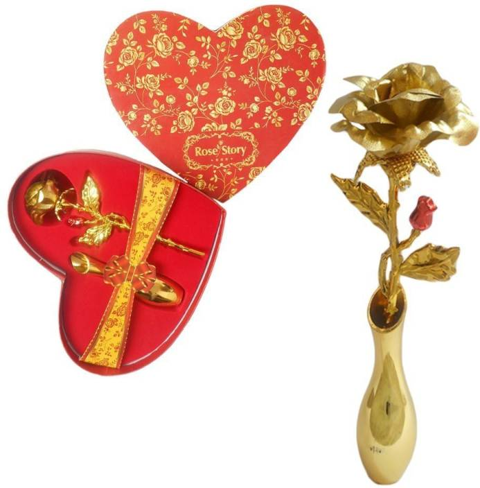 INTERNATIONAL GIFT Gold Rose Stand with Beautiful Love Shape Packing (18  cm, Gold) Exclusive Gift Items for Valentine Gift, Wedding Gift and  Birthday